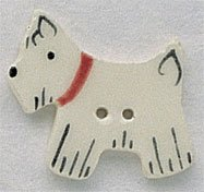 86221 - White Scottie Facing Left 1/2in x 1in - 1 per pkg